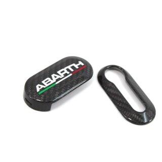 Abarth 500 Punto Koshi Schriftzug Schlüsselcover Tricolore Carbon